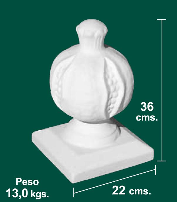 Remate de granada para balaustradas de 22x22x36 todo for Balaustres granada