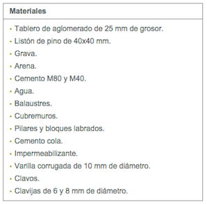 tabla-2 Balaustrada de hormigón: montaje