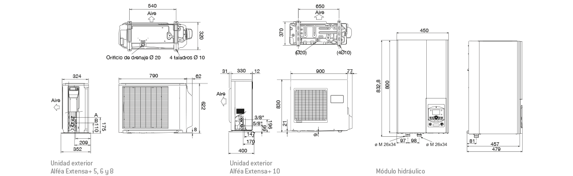Pluma-Extensa Aerotermia THERMOR Bomba Calor Alfeatherm Extensa+13 13,2 kw