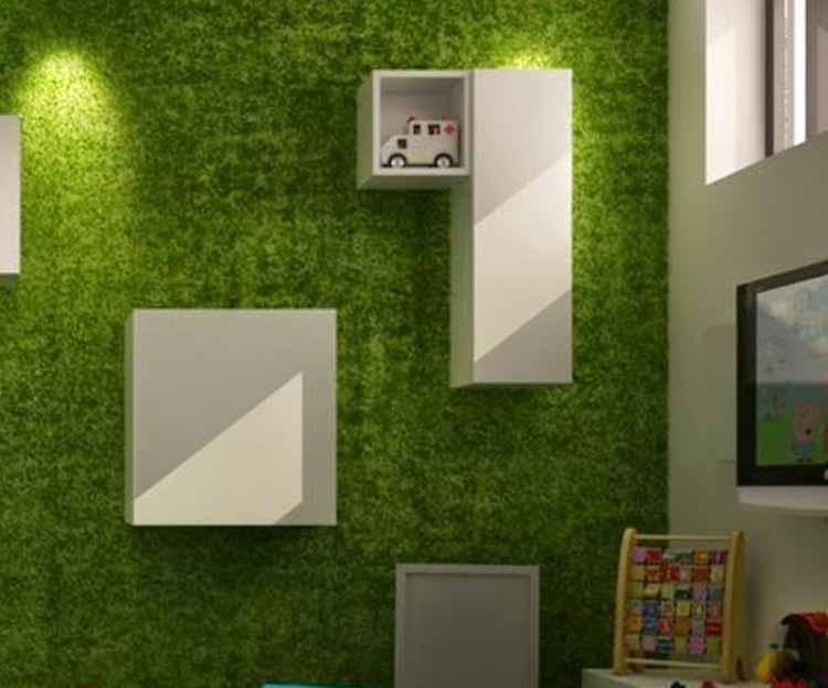 jardin vertical interior con cesped artificial pared